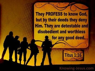 Titus 1:16 They Profess To Know God But Deny Him (orange)