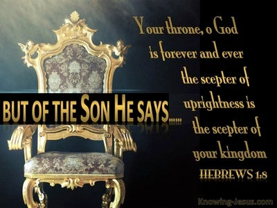 Hebrews 1:8 Your Throne O God Is Established In Heaven (black)