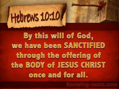 Hebrews 10:10 Sanctified Through Christ Once For All (brown)