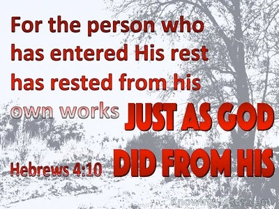 Hebrews 4:10 Rest From You Work (red)