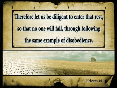 Hebrews 4:11 Let Us Be Diligent To Enter Into Rest (beige)