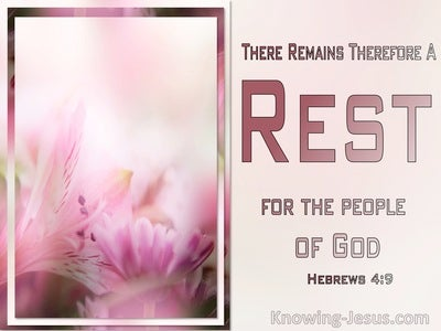 Hebrews 4:9 There Remains A Rest For The Peopele Of God (pink)