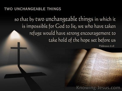 Hebrews 6:18  Two Unchangable Things (black)