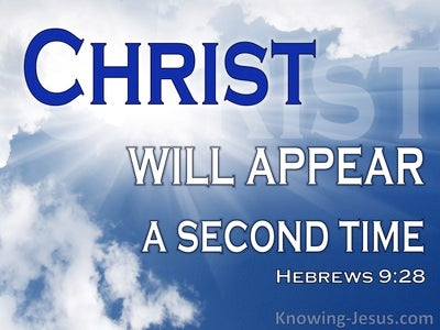 Hebrews 9:28 Christ Will Appear A Second Time (blue)