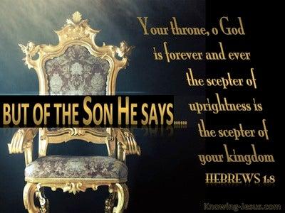 Hebrews 1:8 Your Throne O God Is Established In Heaven (black)