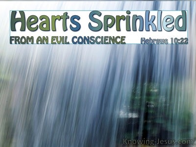 Hebrews 10:22 Hearts Sprinkled From An Evil Conscience (aqua)