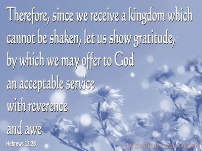 Hebrews 12:28 Let Us Offer Our Acceptable Service to God (blue)