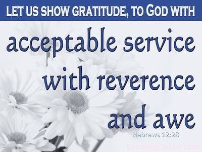 Hebrews 12:28 Let Us Offer Our Acceptable Service to God (white)
