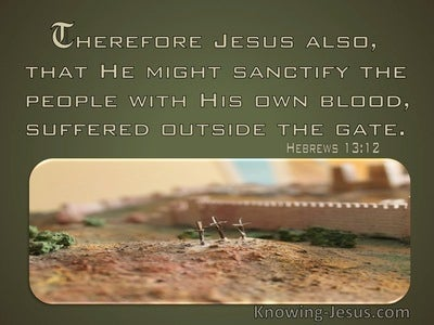 Hebrews 13:12 The He Night Sanctify The People With His Own Blood Suffered Outside The Gate (green)