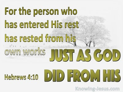 Hebrews 4:10 Rest From Your Work (white)