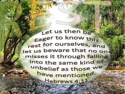 Hebrews 4:11 Let Us Be Eager To Know This Rest (beige)