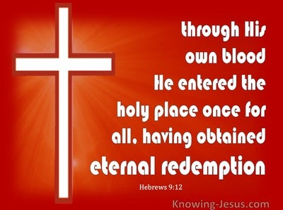 Hebrews 9:12  Through His Own Blood (red)