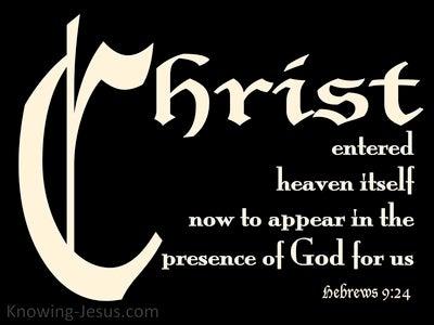 Hebrews 9:24 Christ Entered Heaven (black)