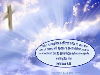 Hebrews 9:28 Christ Offered Once For All (blue)