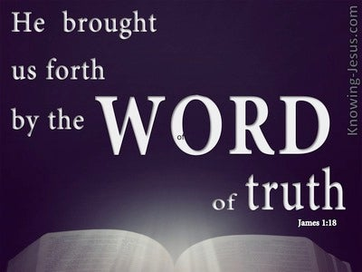 James 1:18 Saved By The  Word Of Truth (purple)