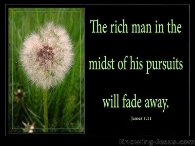 James 1:11 The Rich Man Will Fade Away (green)