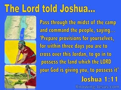 Joshua 1:11 Cross Jordan And Possess The Land (blue)