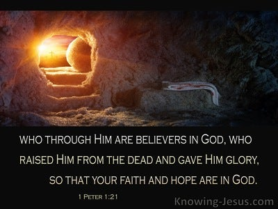 1 Peter 1:21 God Raised Him From The Dead And Glorified Him (brown)