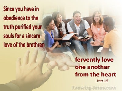 1 Peter 1:22 Fervently Love One Another From The Heart (maroon)