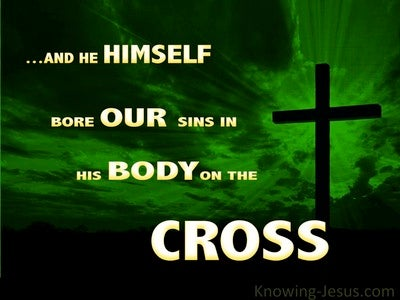 1 Peter 2:24 He Bore Our Sins (green)