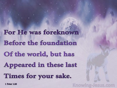 1 Peter 1:20 Foreknown Before The Foundation Of The World (purple)