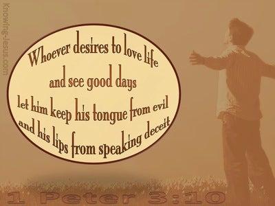 1 Peter 3:10 Keep From Speaking Evil (beige)