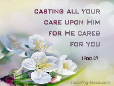 1 Peter 5:7 Casting All Your Care On Him For He Cares For You (pink)