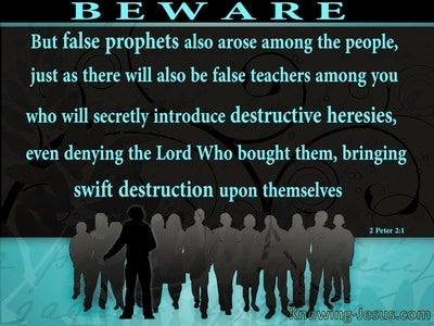 2 Peter 2:1 Beware Of False Teachers Destructive and Heresies (aqua)
