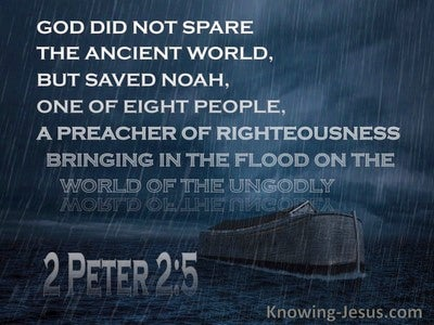 2 Peter 2:5 God Did Not Spare The Ancient World (navy)