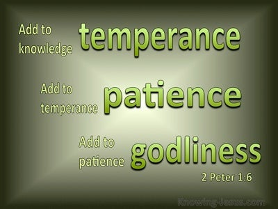 2 Peter 1:6 Add to Knowledge Temperance (green)