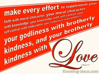 2 Peter 1:7 Godliness, Brotherly Kindness and Love (red)