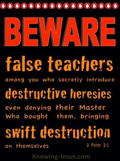 2 Peter 2:1 Beware Of False Teachers Destructive and Heresies (black)
