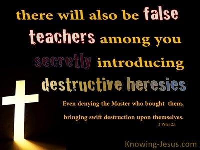 2 Peter 2:1 Beware Of False Teachers Destructive and Heresies (orange)