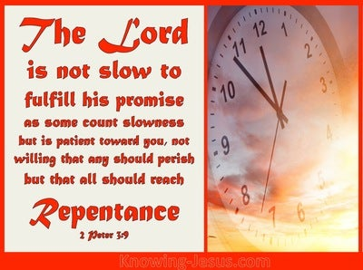 2 Peter 3:9 God is not Slow (red)