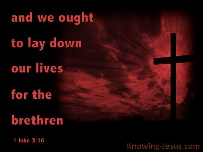 1 John 3:16 Lay Down Our Life For The Brethren  (red)