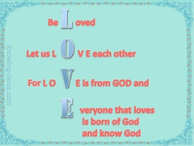 1 John 4:7 Beloved Let Us Love One Another (aqua)