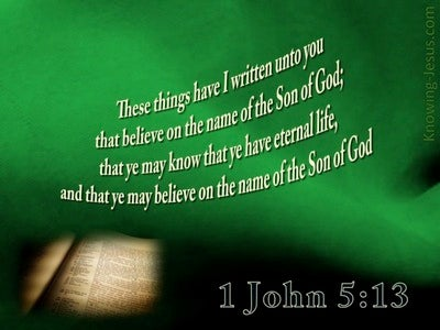 1 John 5:13 Believe On The Son (green)