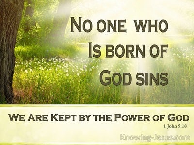 1 John 5:18 No One Born Of God Sins (brown)