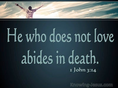 1 John 3:14 He Who Does Not Love Abides In Death (aqua)
