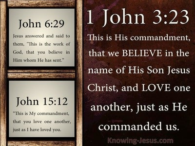 1 John 3:23 This Is His Commandment That We Believe (brown)