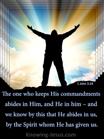 1 John 3:24 We Know He Abides In Us By The Spirit (beige)