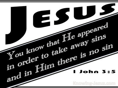 1 John 3:5 He Appeared To Take Away Sins (black)