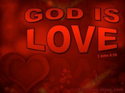 1 John 4:16 God Is Love (red)