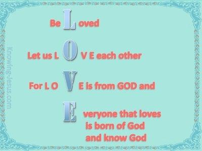 1 John 4:7 Beloved Let Us Love One Another (aqua)