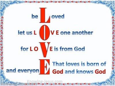 1 John 4:7 Beloved Let Us Love One Another (blue)