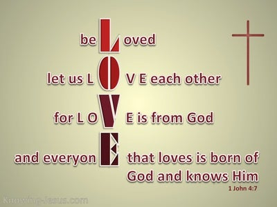 1 John 4:7 Beloved Let Us Love One Another (beige)