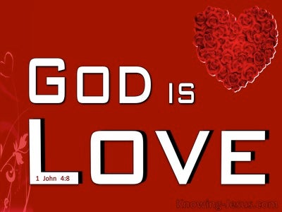 1 John 4:8 God Is Love (red)