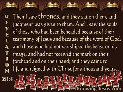 Revelation 20:4 The Souls Of Those Beheaded For Their Testimony (brown)