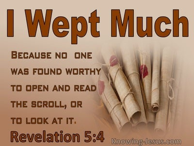 Revelation 5:4 No One Was Found Worthy To Open The Scroll (beige)