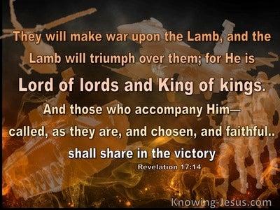 Revelation 17:14 They Will Make War On The Lamb (orange)